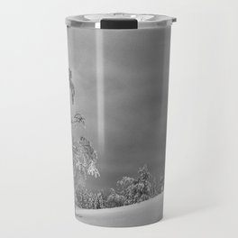 Solitary Snowy Tree in Black and White - Landscape Photography Travel Mug