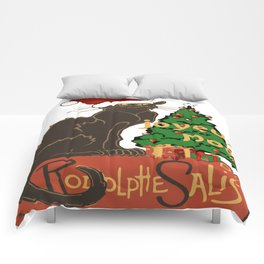 Joyeux Noel Le Chat Noir With Tree And Gifts Comforters