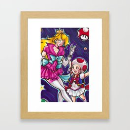 Sailor Peach and Chibi Toad Framed Art Print