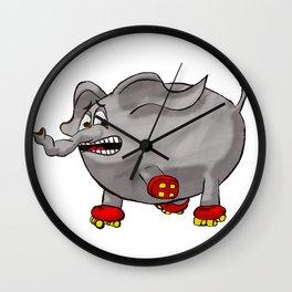 Elephants love red rollerskates Wall Clock