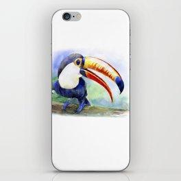 Toucan watercolor illustration, aquarelle art bird iPhone Skin