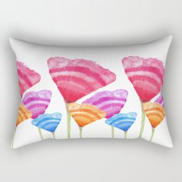Abstract Hand Painted Colorful Long Stem Flowers Rectangular Pillow