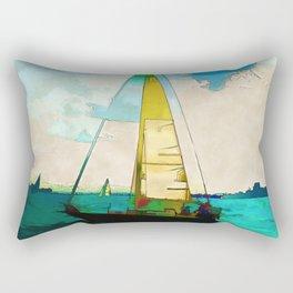 Night Sailing  -  Sailboats Rectangular Pillow