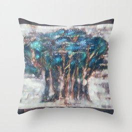 Faded Semi-Abstract Trees Throw Pillow