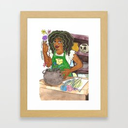 Flower Shop Witch Framed Art Print