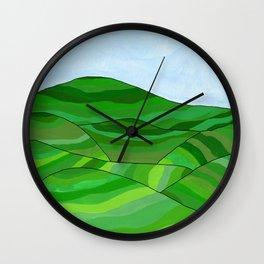 Tea fields landscape Wall Clock