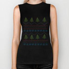 Ugly Christmas Sweater Doodle Pattern - Color Biker Tank