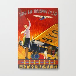 Japan Air Transport Vintage Travel Poster Metal Print