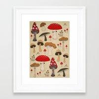 mushrooms Framed Art Prints featuring Mushrooms by Lynette Sherrard Illustration and Design