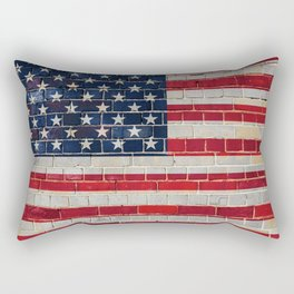 America flag on a brick wall Rectangular Pillow