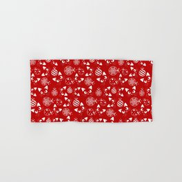 Christmas Cats and Ornaments (Red and White) Hand & Bath Towel