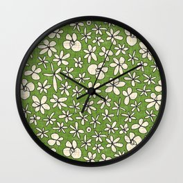 garland flowers green Wall Clock