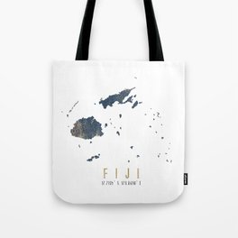 Blue and Gold Map of Fiji Tote Bag