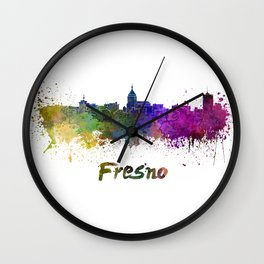 Fresno skyline in watercolor Wall Clock