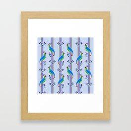 Vintage Art Deco Birds and Stripes Pattern 2 Framed Art Print
