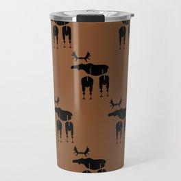 Brown Moose Pattern Travel Mug
