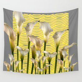 Grey & Yellow Pattern Calla Lilies Art Wall Tapestry
