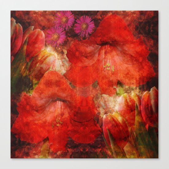 Floral impressionism in passionated red Canvas Print