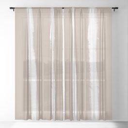Medium Brush Strokes Vertical Off White on Nude Sheer Curtain