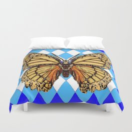 ABSTRACTED  BROWN SPICE  MONARCHS BUTTERFLY  &   BLUE-WHITE HARLEQUIN PATTERN Duvet Cover