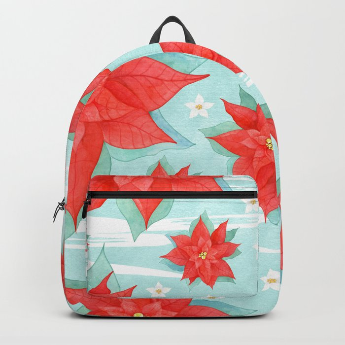 Red poinsettia #1 Backpack