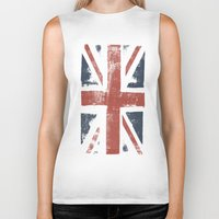 union jack Biker Tanks featuring Union Jack by David Hand
