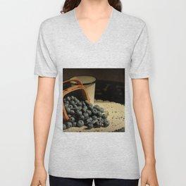 Blueberries in Basket - Old World Stills Series Unisex V-Neck