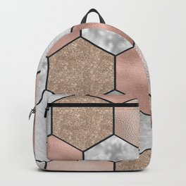 Marble hexagons and rose gold on black Backpack