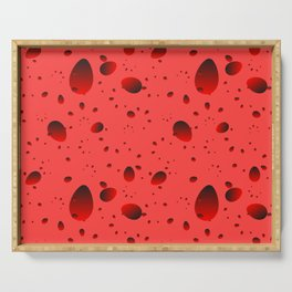 Large red drops and petals on a light background in nacre. Serving Tray