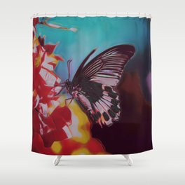 Black And White Butterfly On Red Flower III Shower Curtain