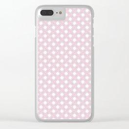 Powder Pink Puff Ball Snowflake Wispy Design Pattern Clear iPhone Case