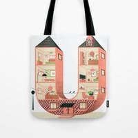 letter Tote Bags featuring Letter U by Margarida Esteves