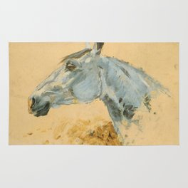 "Henri de Toulouse-Lautrec ""White Horse 'Gazelle'"" Rug"
