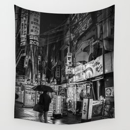 Fine Art Photography Tokyo Streets Black and White Wall Tapestry