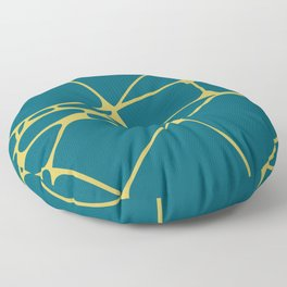 Dark Yellow Abstract Mosaic Pattern 1 on Tropical Dark Teal Inspired by Sherwin Williams 2020 Trending Color Oceanside SW6496 Floor Pillow