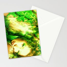 Fairy feather head dress fairy goddess green feathers ,WOOD NYMPH Stationery Cards