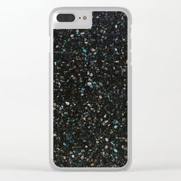 Terrazzo black with turquoise opaque Clear iPhone Case