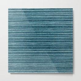 Teal watercolor brushstrokes geometrical stripes Metal Print
