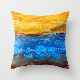 Sunset Over the Water Throw Pillow