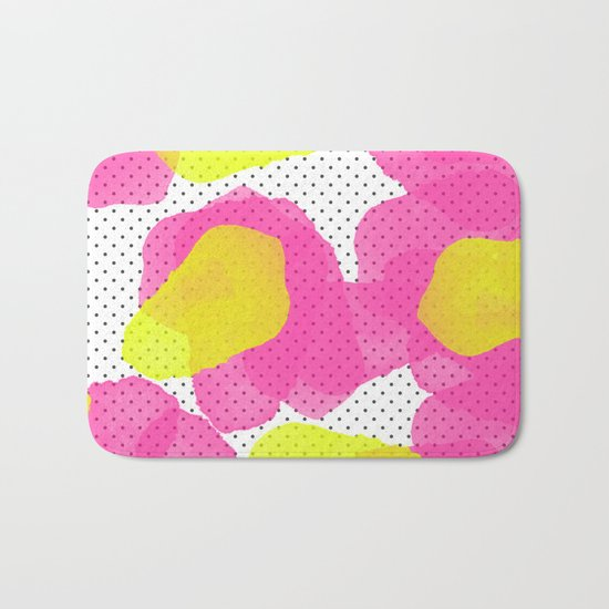 Sarah's Flowers - Abstract Watercolor on Polka Dots Bath Mat