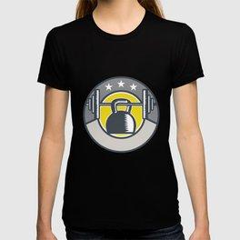 Kettlebell Hanging Barbell Circle Retro T-shirt
