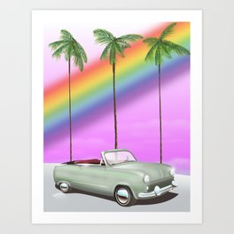 Vintage Car and rainbow, Art Print