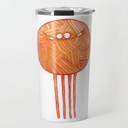 Poofy Orange Yarn Travel Mug