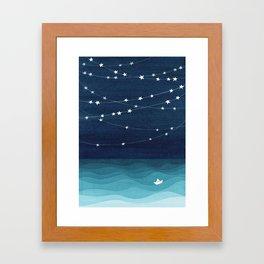 Garlands of stars, watercolor teal ocean Framed Art Print