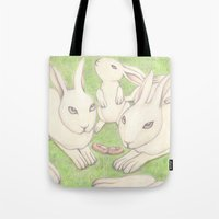 bunnies Tote Bags featuring Bunnies by Adi Yochalis