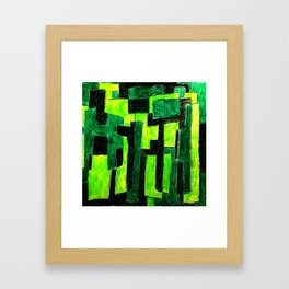 Three Green Puzzle Framed Art Print