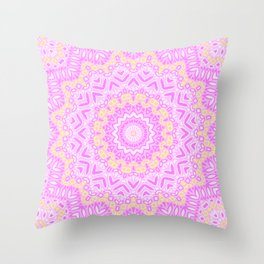 White rose mandala . Throw Pillow