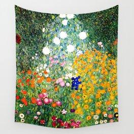 Flower Garden by Gustav Klimt vibrant Wall Tapestry
