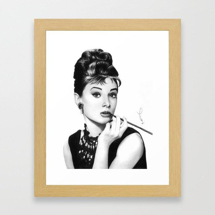 Audrey Hepburn Pencil drawing Framed Art Print by thubakabra | Society6