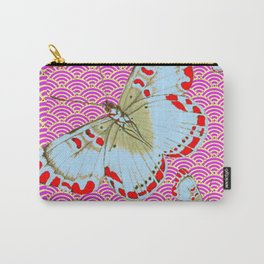 ORIGINAL ORIENTAL STYLE RED-WHITE EXOTIC BUTTERFLY PINK ART Carry-All Pouch